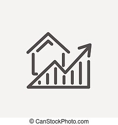 residencial, aumentos, delgado, gráfico, línea, icono