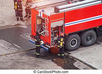 residencial, bomberos, necesario, extinguir, rescate, ayuda...