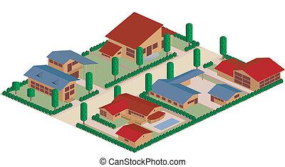 residencial, caricatura, distrito