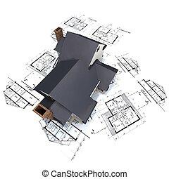 residencial, casa, cima, arquiteta, desenhos técnicos, 3