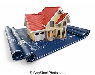 residencial, casa, en, arquitecto, blueprints., caja, project.