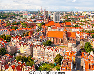 residencial, casas, em, cidade velha, de, gdansk