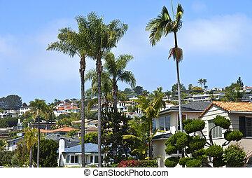 residencial, casas, en, un, ladera, california.
