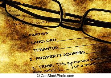 residencial, conceito, grunge, acordo, arrendamento