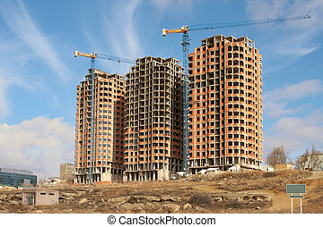 residencial, construção, houses.