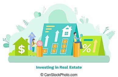 residencial, dinheiro, cento, investir, vetorial