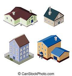 residencial, edificios, casa