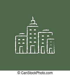 residencial, edificios, icono, dibujado, en, chalk.