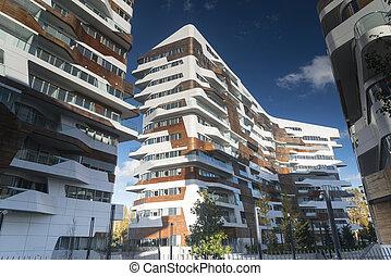 residencial, edificios, moderno, milan