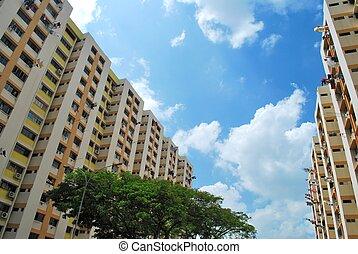 residencial, edificios, público