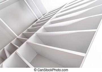 residencial, elegante, armário, shelfs, branca
