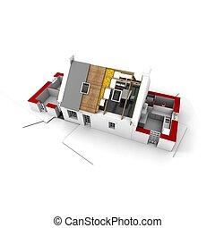 residencial, estructura de azotea, rojo