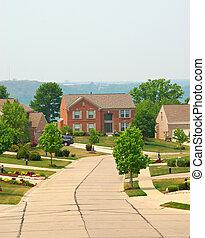 residencial, história, lares, tijolo, dois