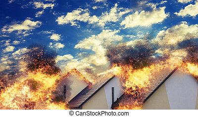 residencial, hogares, ardiendo