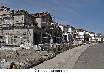 residencial, hogares, bajo construcción