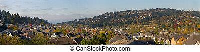 residencial, hogares, en, suburbano, norteamérica