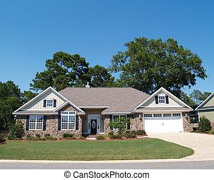 residencial, pedra, história, lar, um