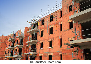 residencial, predios, construção, em, tijolo vermelho