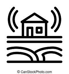 residencial, sísmico, onda, contorno, vector, edificio, icono, ilustración