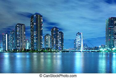 residencial, tokio, distrito, noche