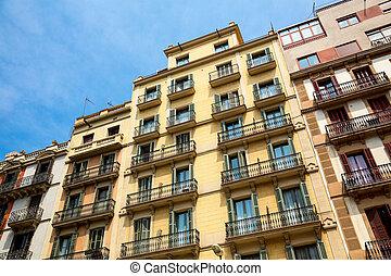 Residental building in Barcelona - Facade of classical...