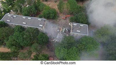 residental, démoli, bâtiment, partiellement