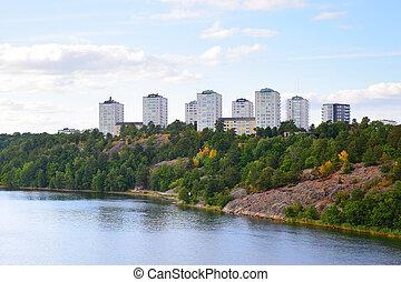 Residental district in Stockholm - Residental district on...