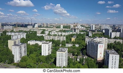 Residental district with lots of green trees - Aerial view...