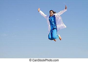 residente, saltando alto, céu, jovem