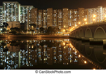 Residential Apartment Buildings in Hong Kong at night