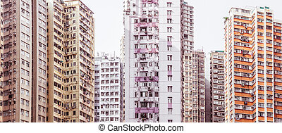 Residential aprtment in old district, Hong Kong, Asia