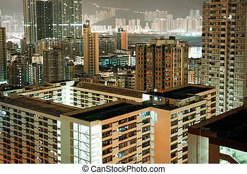 Residential area at night in Hong Kong