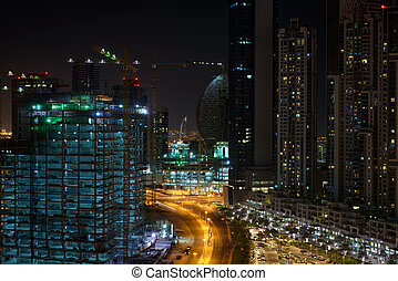 Residential area in Dubai at night
