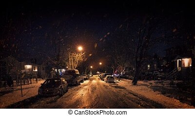 Residential Area In Heavy Snowfall At Night