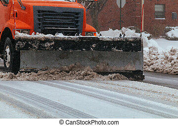 residential area Snowplow on the road - Snowplow on the road...