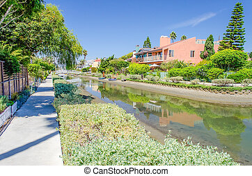 Residential area with canals in Venice Beach, California