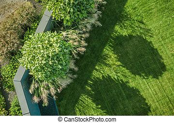 Residential Backyard Garden Aerial View