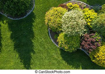 Residential Backyard Garden Aerial Vista