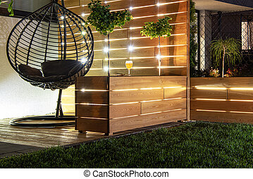Backyard Garden Wooden Recreation Place Deck with Table