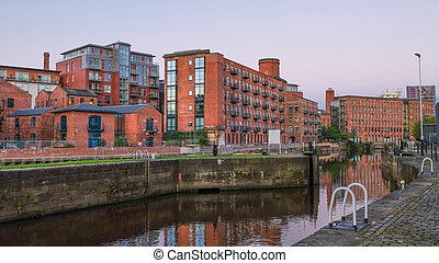 Clarence Dock at dusk