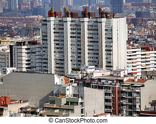 Residential district - high rise buildings in Barcelona.