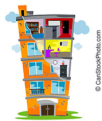 Residential Building (Cross Section) with Clipping Path
