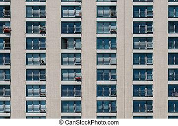 residential building facade, apartment house / real estate exterior -