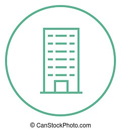 Residential building line icon.