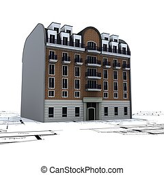 Residential Building on top of architect blueprints 2