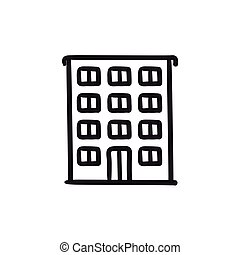 Residential building sketch icon.