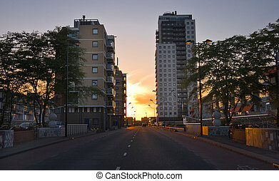 Residential buildings at sunset
