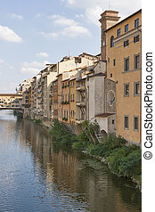 Residential buildings close to bridge Ponte Vecchio in Florence