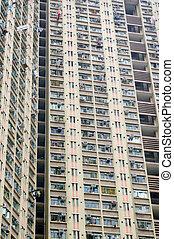 Residential buildings exterior in Hong Kong