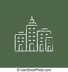 Residential buildings icon drawn in chalk. - Residential...